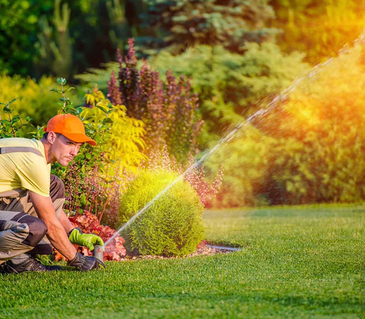 Garden Watering Systems. Garden Technician Testing Watering Sprinkler System in the Residential Garden.